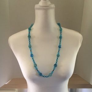 Handcrafted blue faceted bead necklace